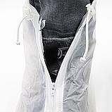 Бахилы для обуви от дождя, снега, грязи ZUO YOU XL многоразовые, с молнией и шнурком-утяжкой Белый (vol-392), фото 8