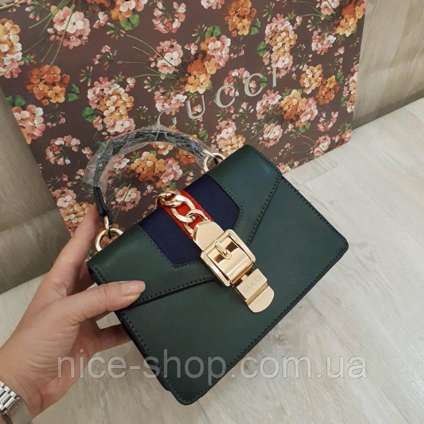 Сумочка Gucci mini зеленая бутылочная, фото 2