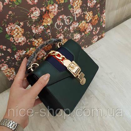 Сумочка Gucci mini зеленая бутылочная, фото 3
