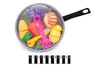 Фрукты и овощи (половинки), сковорода, лопатка, доска для нарезки, 685