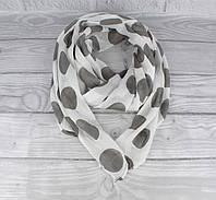 Итальянский шарф Girandola 0001-104 белый в серый горох, коттон 80%, шелк 20%, фото 1