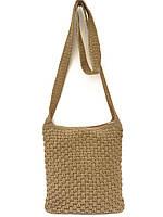 Вязаная женская сумка с длинной ручкой