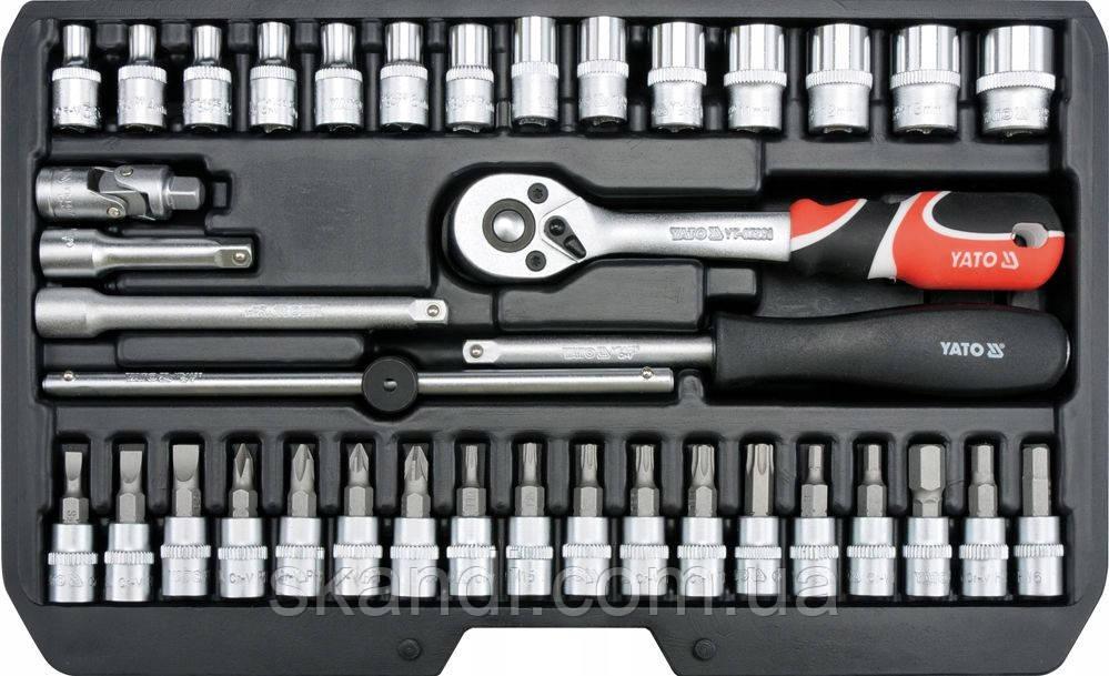 Набор инструмента с головками и насадками в чемодане Yato YT-14471