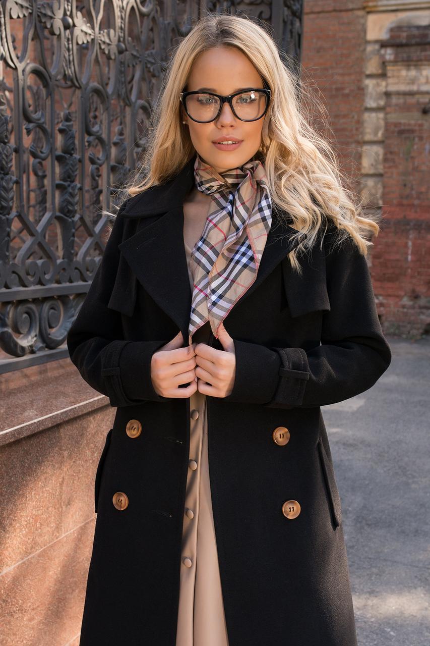 Кашемировое двубортное женское пальто на поясе (S, M, L) черный