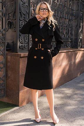 Кашемировое двубортное женское пальто на поясе (S, M, L) черный, фото 2