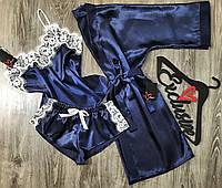 Набор домашней одежды из атласа халат+майка+шорты АТ-1100