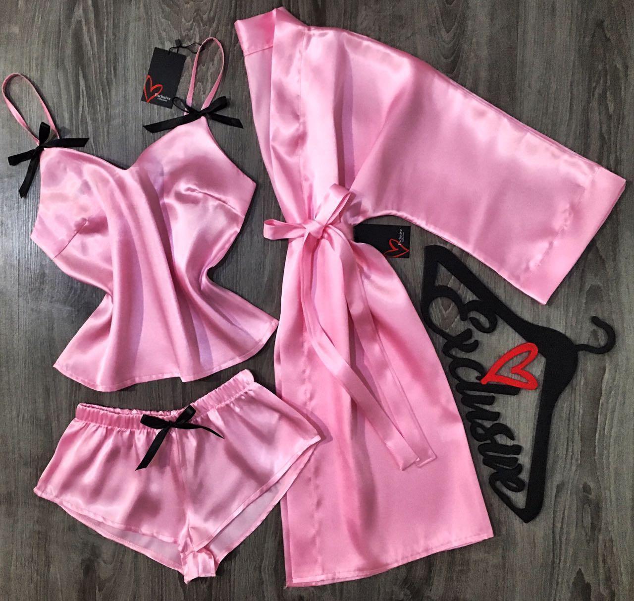 Молодежный атласный комплект майка шорты и халат розовый АТ-1099