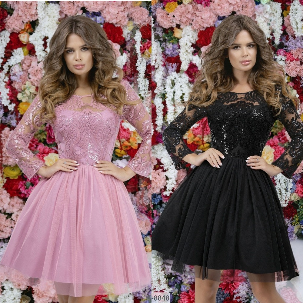 Платье женское, вечернее, короткое, с пышной юбкой, роскошное, шикарное качество, гипюр с пайетками+сетка