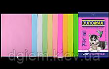 Бумага А4 цветная PASTEL+NEON 10цветов, 50л, 80г/м2