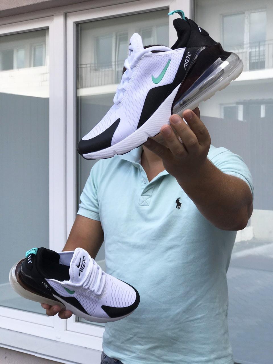 Кросівки чоловічі в стилі   Nike Air Max 270  білі з мятою  ТОП якість