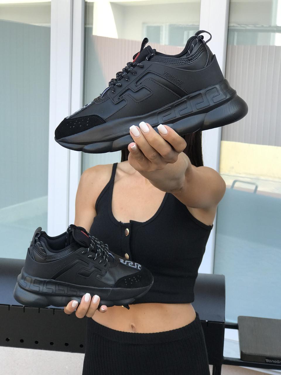 Кросівки жіночі  в стилі   Versace   чорні   (ТОП ЯКІСТЬ)