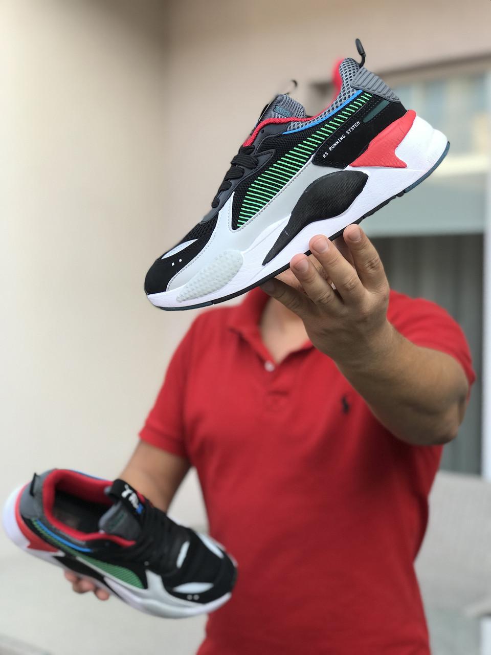 Кросівки чоловічі в стилі  Puma RS-X Hard Drive   чорно білі із зеленим    ТОП якість