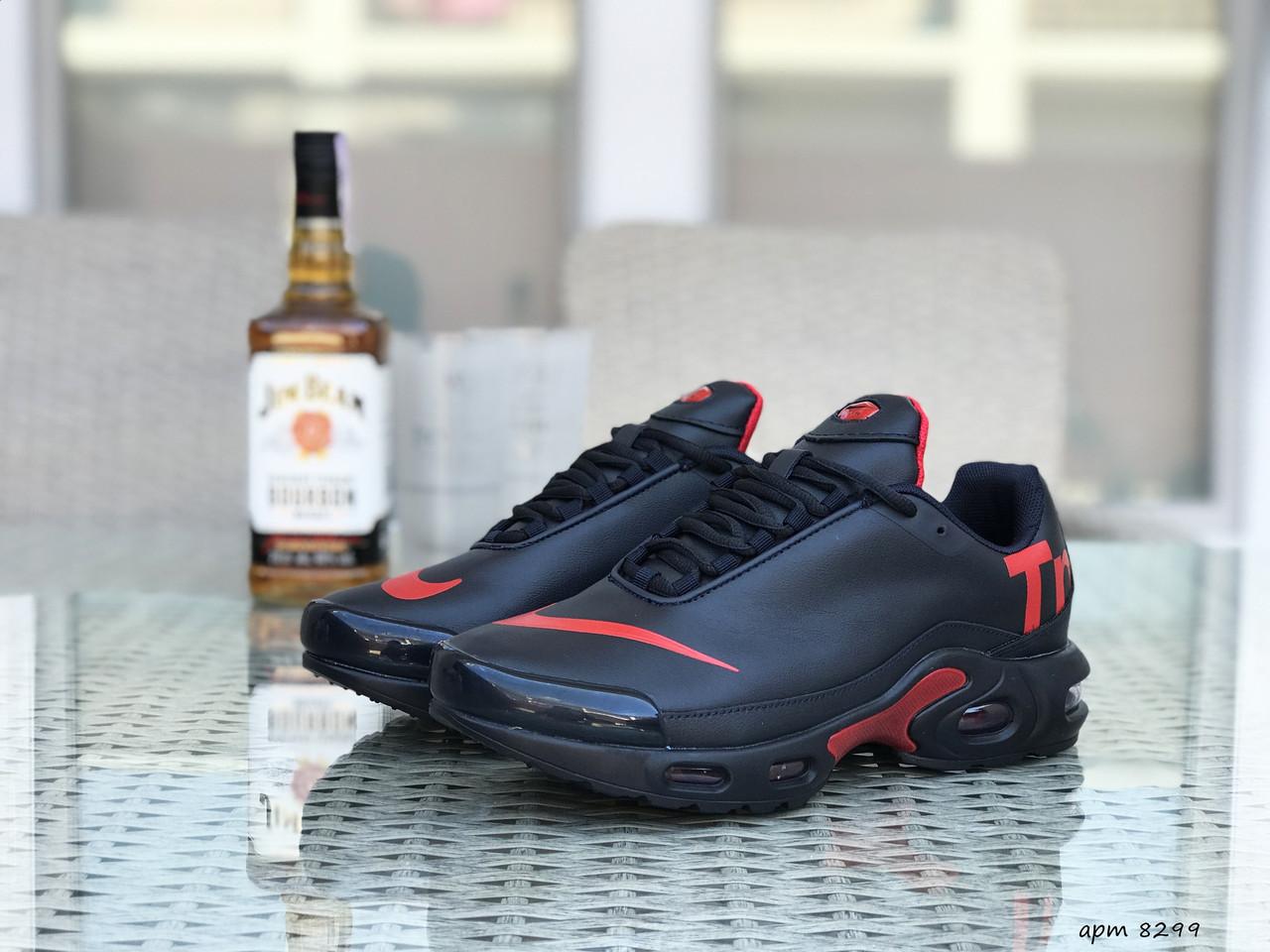 Кросівки чоловічі в стилі Nike Air Max Tn темно сині з червоним  ( шкіра ) ТОП якість
