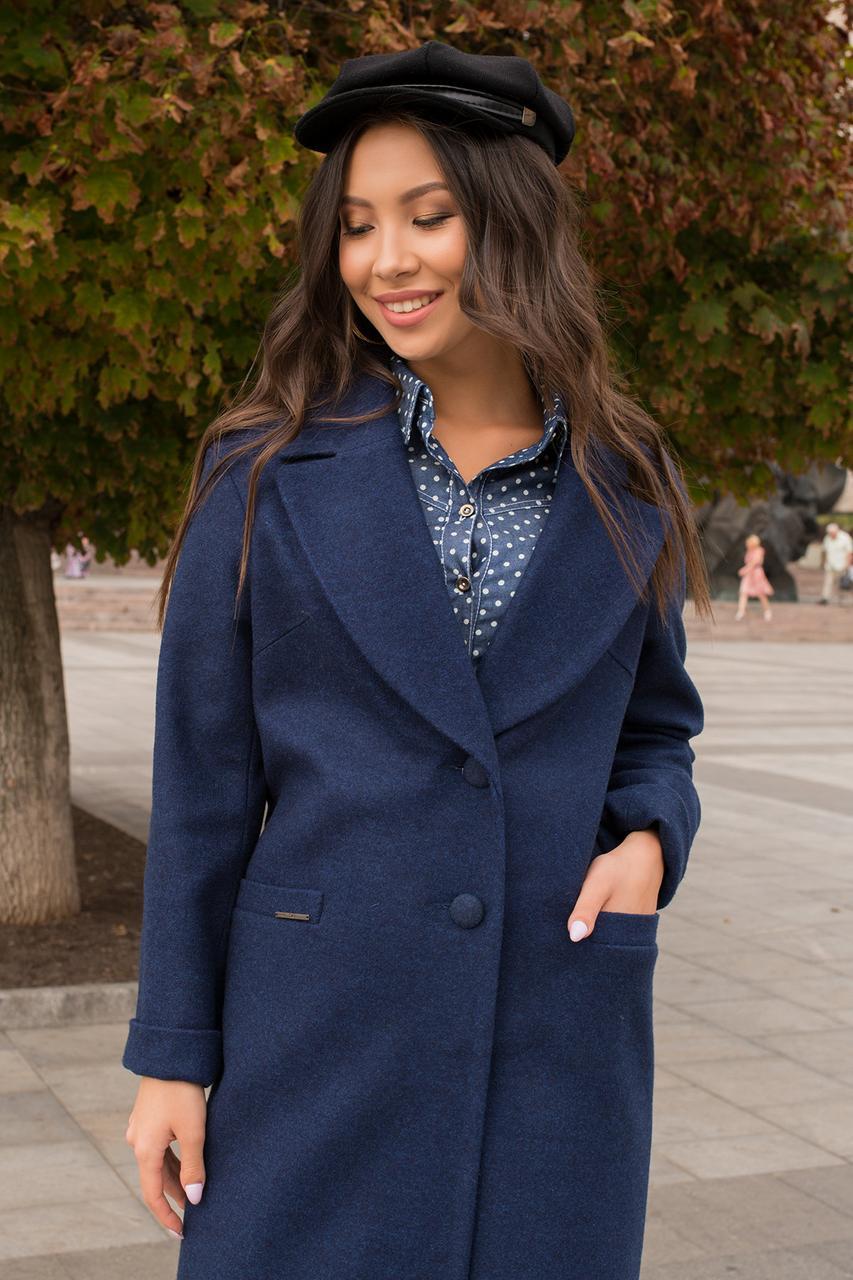 Кашемировое пальто прямого кроя ниже колена (S, M, L) темно-синее