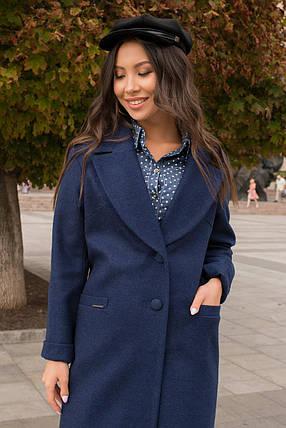 Кашемировое пальто прямого кроя ниже колена (S, M, L) темно-синее, фото 2
