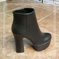 Женские демисезонные ботинки Lino Marano черная кожа высокий стрип L717, 35