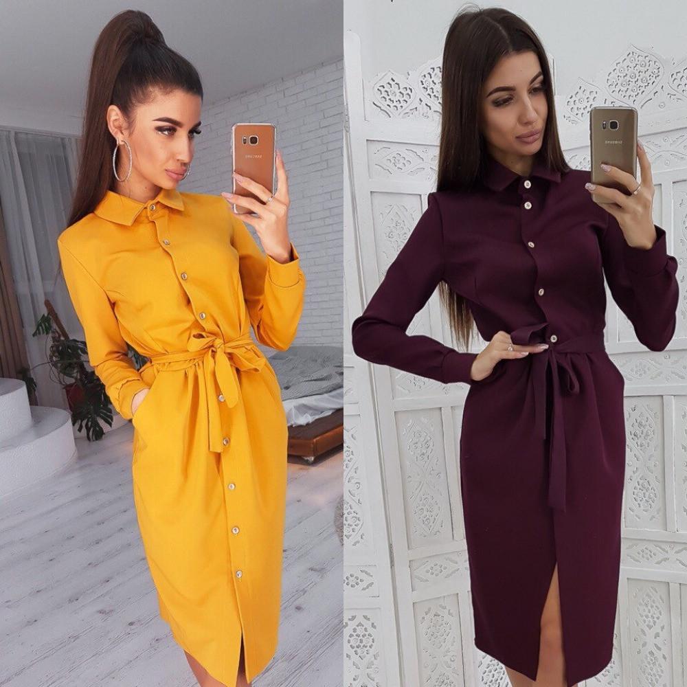 Платье халат женское на пуговицах, длинный рукав, повседневное, пояс в комплекте, с карманами, ровное, прямое