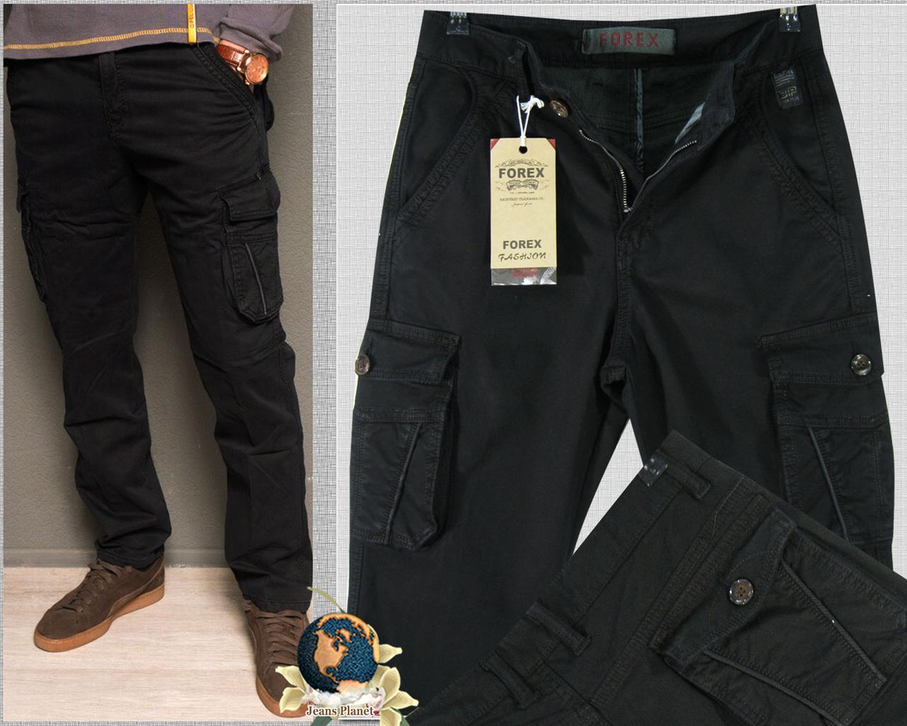 Джинсы мужские карго чёрные с накладными карманами осень-зима 38 размер