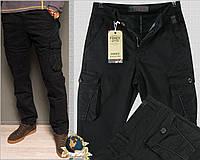 Джинсы мужские утеплённые карго с накладными карманами чёрного цвета