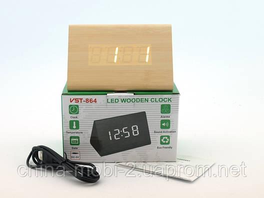 VST-861 Часы настольные цифровые с будильником, датой и термометром, бежевые с белыми цифрами, фото 2