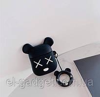 Чехол футляр для наушников AirPods Мишка Bear Brick черный + брелок силиконовый