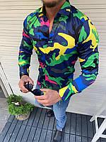 Мужская рубашка в стиле Lacoste краска под камуфляж синий желтый зеленый