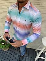 Мужская рубашка в стиле Lacoste модная