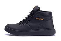 Мужские зимние кожаные ботинки  Timberlend Zaragoza Black (реплика), фото 1