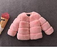Стильная демисезонная шубка для девочки из мягкого экомеха розовая р. 86, 150 см