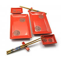 Набор для суши Красный с иероглифами 2 персоны 25073