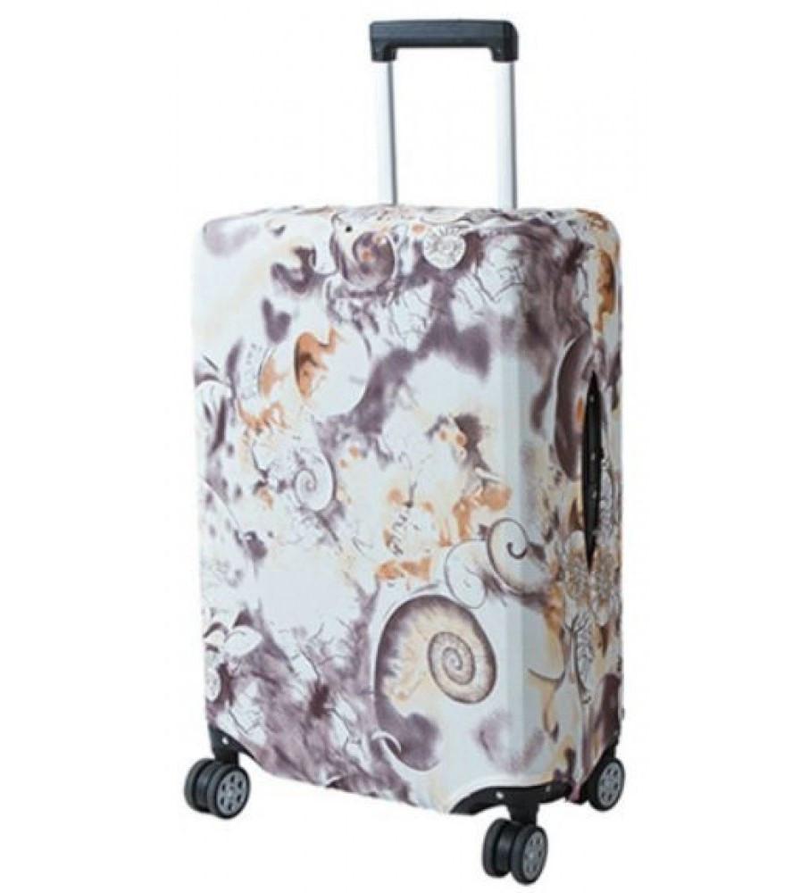 Защитный чехол для чемодана Bonro большой XL. Коричневый узор.