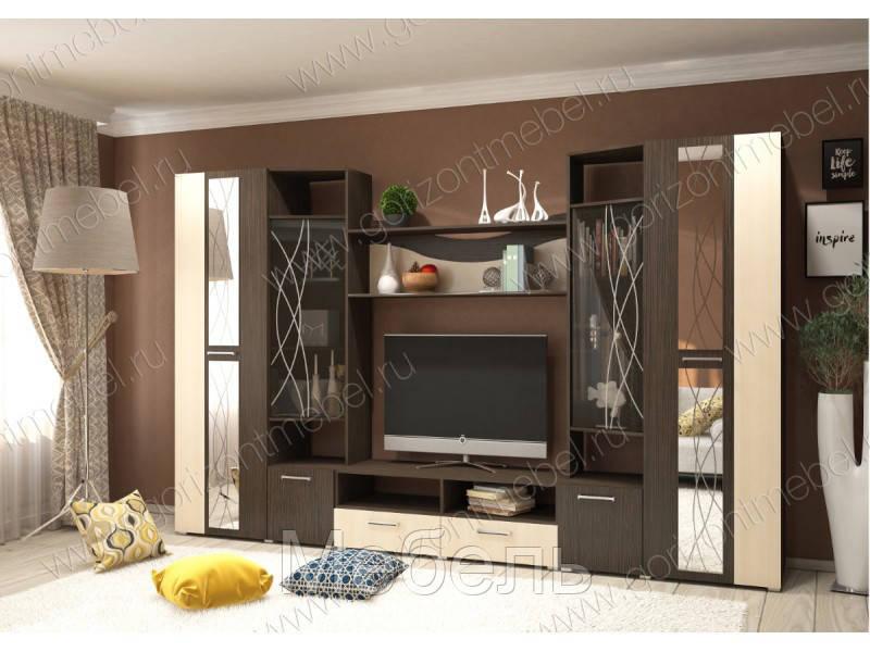 Гостиная Гамма с зеркалами Горизонт 3200*2024*446