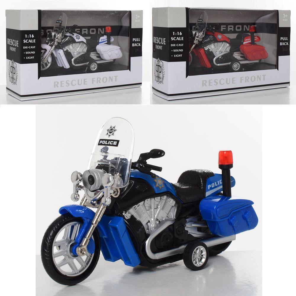 """Мотоцикл """"Полиция"""", металлический, инерционный, 1:16, звук, свет, 3 цвета, 666"""