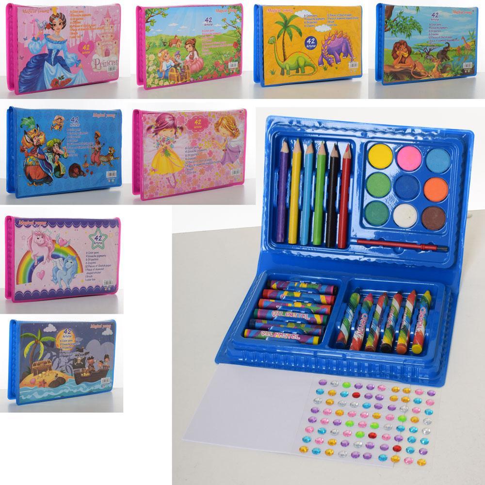 Набор для творчества, карандаши, акварельные краски, мел, 42 предмета, 8 видов, в пенале, MK3133-2