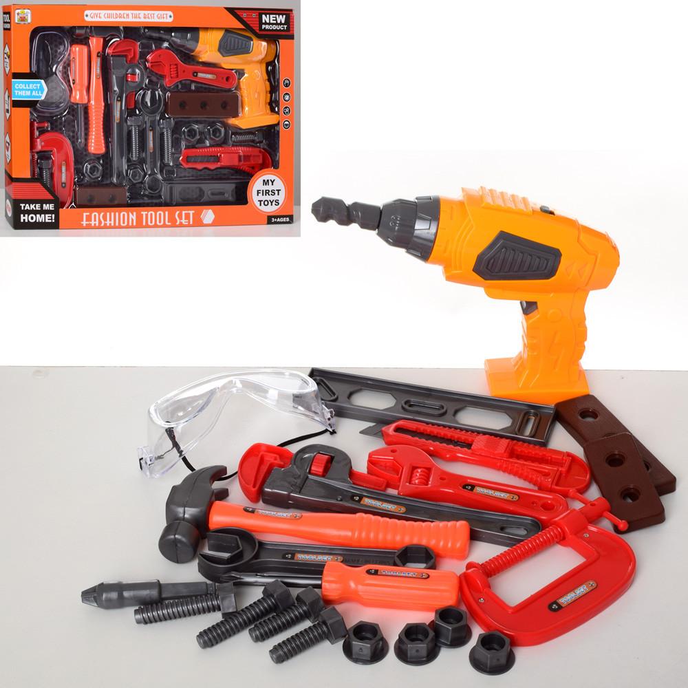 Набор инструментов, дрель-вращается сверло, отвертка, ключи, очки, 36778-77