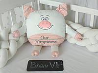 Игрушка свинка с вышивкой