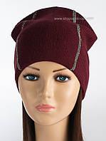 Теплая женская шапка Саваж цвет бордовый