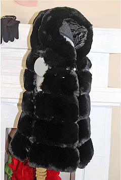Жилет меховой для девочки с капюшоном черная