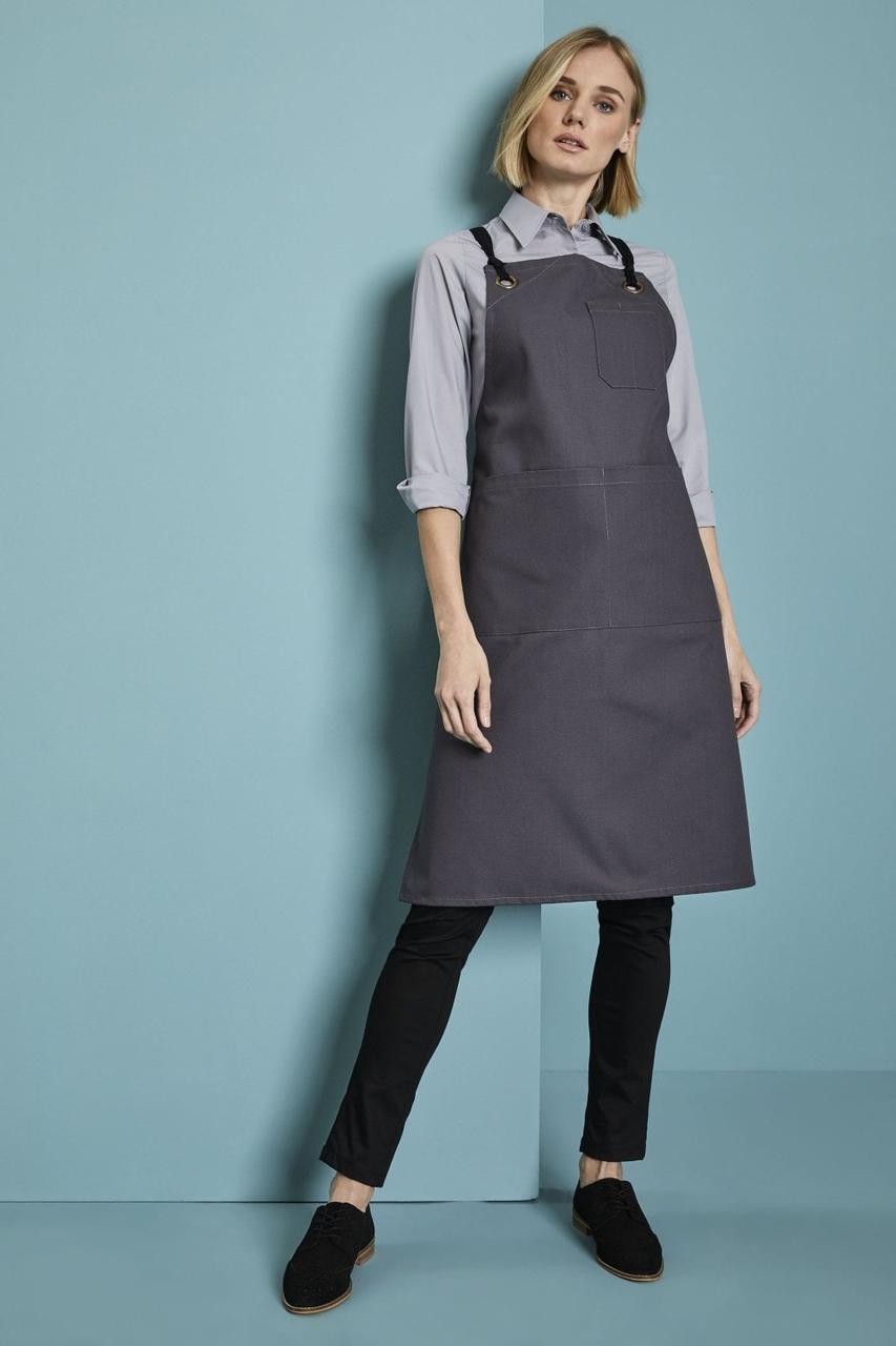 Фартук для официанта, бармена с нагрудником и карманами темно серый Atteks - 00114