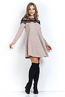 Платье из ангоры с жемчугом МАРГО бежевое 42