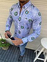 Мужская рубашка в стиле Lacoste светло синяя с цветами