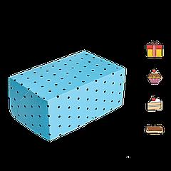 Коробка для торта КТ 0114 (1кусок) голубой горох 100*160*80мм (уп/25шт)