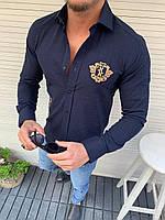 Мужская рубашка темно синяя черная