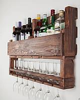 Винная полка под бутылки, бокалы и стаканы