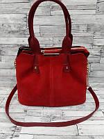 Женская комбинированная сумка Красная