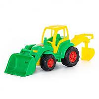 """Трактор """"Чемпион"""" с лопатою и ковшом, в сетке (8шт) (0513)"""