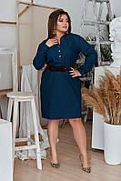 Женское джинсовое платье под пояс с карманами  50-52, 54-56, 58-60