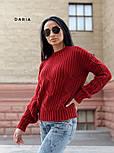 Женский свитер свободного кроя с элементами вязки коса (в расцветках), фото 4