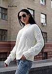 Женский свитер свободного кроя с элементами вязки коса (в расцветках), фото 6