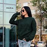Женский свитер свободного кроя с элементами вязки коса (в расцветках), фото 7